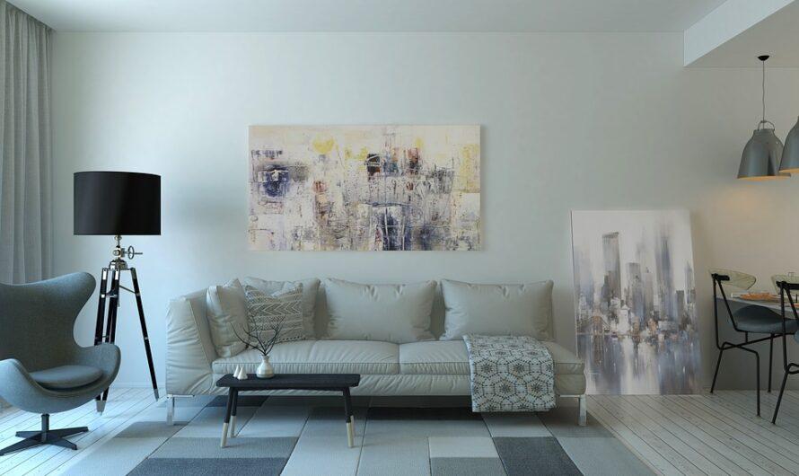 Abstrakte malerier og boghylder. Daily-Living.dk er billigst på møbler og brugskunst